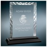 Rectangle Clear Premier Accent Glass Award on a Black Base Clear Glass Awards - Click Here for More Styles