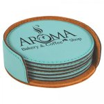 Leatherette Round Coaster Set -Teal Misc. Gifts - Click Here For More Items