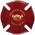 Rosewood Piano Finish Maltese Cross Plaque Police & Fire