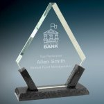 Diamond Premier Glass with Black Marble Base Stone & Glass Awards - Click Here for More Styles