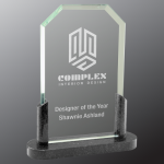 Clipped Corner Premier Glass with Black Marble Base Stone & Glass Awards - Click Here for More Styles