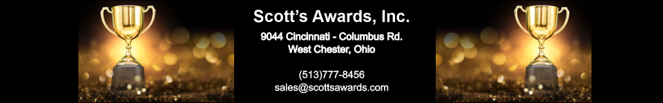 Scott's Awards, Inc. - acrylic awards, crystal awards, cup trophies, perpetual plaques, baseball trophies, football trophies, soccer trophies, corporate plaques, recognition plaques, glass awards, gifts, clocks, corporate awards, west chester, oh, ohio